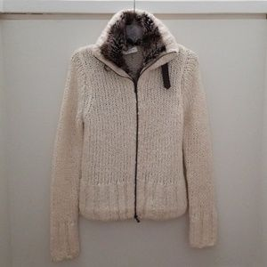 One Girl Who Faux Fur Ivory Zip-up Sweater